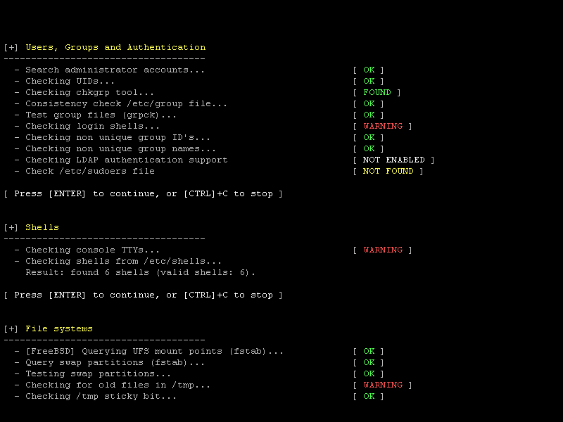 Example screenshot of a Linux security scan with Lynis